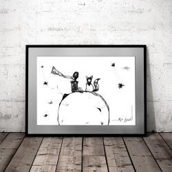 Mały Książę i Lis,nowoczesna grafika,na ścianę - Ilustracje, rysunki, fotografia - Wyposażenie wnętrz