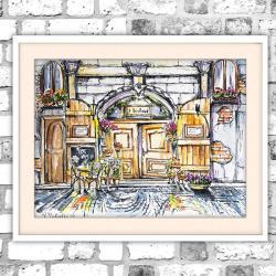akwarela,cafe,krajobraz,kawiarnia,miasto, - Obrazy - Wyposażenie wnętrz
