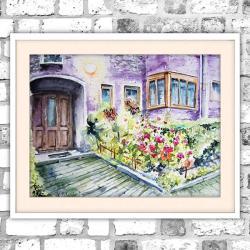 akwarela,kwiaty,domek,bajkowy - Obrazy - Wyposażenie wnętrz