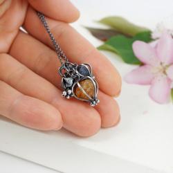 srebrny wisior z cytrynem i kianitem,prezent - Wisiory - Biżuteria