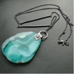 srebro,agat,gigant,wisior,oksydowany - Wisiory - Biżuteria
