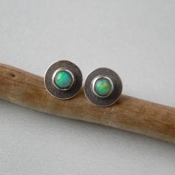 z opalem,srebro oksydowane,delikatne - Kolczyki - Biżuteria