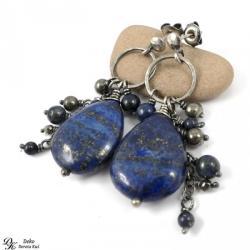 kolczyki,lapis lazuli,piryt,granat,złoty,kamienie - Kolczyki - Biżuteria