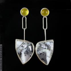 energetyczne,opal dendrytowy,agat,długie - Kolczyki - Biżuteria