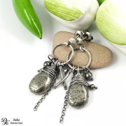 piryt,kolczyki,otulony,srebro,złoty,krople,srebro - Kolczyki - Biżuteria