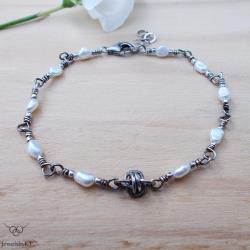 srebro,delikana bransoletka,perły,JewelsbyKT - Bransoletki - Biżuteria