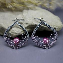kolczyki,rubin,wire wrapping,boho,retro - Kolczyki - Biżuteria