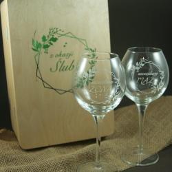 kieliszki dla Młodej Pary,grawerowane,prezent - Ceramika i szkło - Wyposażenie wnętrz