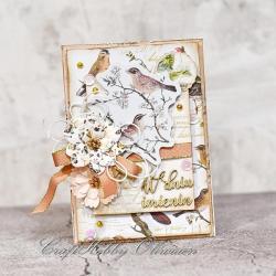 imieniny,życzenia,kartka,ptaki - Kartki okolicznościowe - Akcesoria