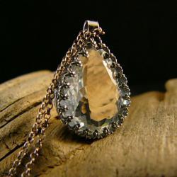 naszyjnik z kryształem,srebrny,srebra,górskim,nehe - Naszyjniki - Biżuteria