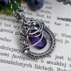 Naszyjniki fioletowy kwarc,srebro,wire wrapping,naszyjnik