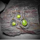 Komplety komplet biżuterii z zielonym jadeitem,srebro