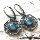 Kolczyki kamień księżycowy,srebrne,blask,niebieskie,retro