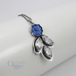 naszyjnik kwiat,niebieski naszyjnik - Naszyjniki - Biżuteria