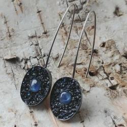 kyanit,srebrne,stalowe,mini,błękitne,tęczowe,retro - Kolczyki - Biżuteria