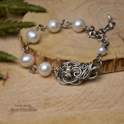 bransoletka,regulowana,perła,stal - Bransoletki - Biżuteria