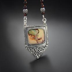 srebrny,naszyjnik,z opalem monarch, - Naszyjniki - Biżuteria