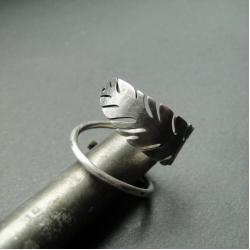 srebro,liść,subtelny,oksydowany - Pierścionki - Biżuteria