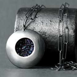 srebrny wisior z karborundem,oksydowana zawieszka - Wisiory - Biżuteria
