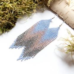 niebieskie długie kolczyki,pastelowe kolczyki - Kolczyki - Biżuteria