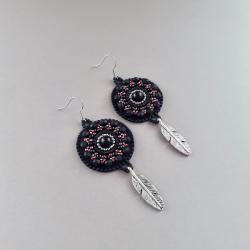 kolczyki czarne,haft koralikowy,na prezent - Kolczyki - Biżuteria