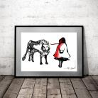 Ilustracje, rysunki, fotografia Czerwony Kapturek,nowoczesna grafika,na ścianę