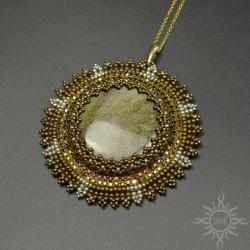 mandala,okrągły,na lato,złoty,słońce,obsydian,brąz - Wisiory - Biżuteria
