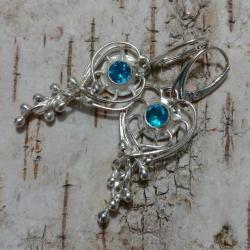 topazy,srebrne,retro,szare,blask,niebo,błękit,styl - Kolczyki - Biżuteria