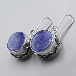 Srebrne kolczyki z czaroitami - Kolczyki - Biżuteria