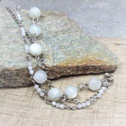 kamień księżycowy,srebro,bransoleta - Bransoletki - Biżuteria