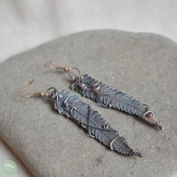 kolczyki,paprotki,liście kolczyki,długie,miedź - Kolczyki - Biżuteria
