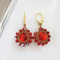 kolczyki Rubinowo złote Kwiaty Swarovski - Kolczyki - Biżuteria