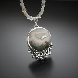 srebrny,naszyjnik,z agatem i perłami - Naszyjniki - Biżuteria