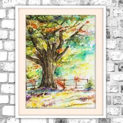 akwarela,drzewo,obraz,abstrakcja,jasny - Obrazy - Wyposażenie wnętrz