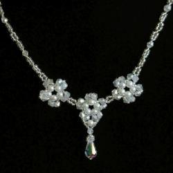 Naszyjnik perłowo-kryształowe kwiaty Swarovski - Naszyjniki - Biżuteria