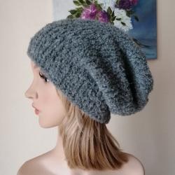 czapka na drutach,rękodzieło,beanie,boucle - Inne - Dodatki
