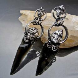 obsydian,etniczne kolczyki,czarne kolczyki - Kolczyki - Biżuteria