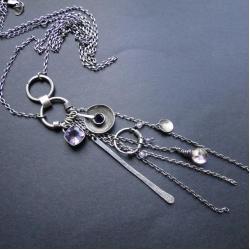 srebro,ametyst,iolit,kwarc,wisior - Wisiory - Biżuteria