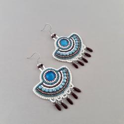 kolczyki wachlarze,haft koralikowy,niebieskie - Kolczyki - Biżuteria