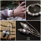 Kolczyki bransoleta z pereł słodkowodnych,surowa biżuteria