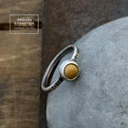 klasyczny,jaspis,prosty,beżowy,beż - Pierścionki - Biżuteria