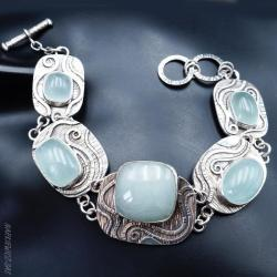 srebrna bransoleta z akwamarynami - Bransoletki - Biżuteria
