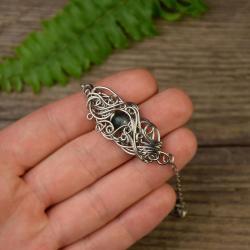 bransoletka,regulowana,wire wrapping,agat mszysty - Bransoletki - Biżuteria