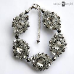 Bransoletka grafitowe lśnienie kryształowe kwiaty - Bransoletki - Biżuteria
