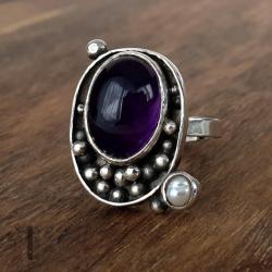 pierścionek srebrny,metaloplastyka,ametyst - Pierścionki - Biżuteria