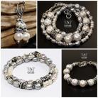 Bransoletki komplet biżuterii z pereł,bransoleta i kolczyki