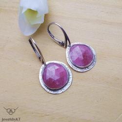 srebrne kolczyki,rubin,nowoczesna biżuteria, - Kolczyki - Biżuteria
