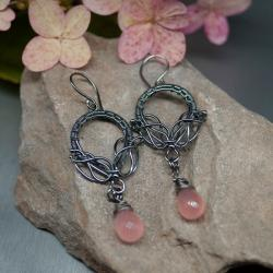 kolczyki,wire wrapping,kwarc różowy,vintage, - Kolczyki - Biżuteria