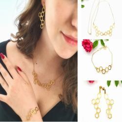 plastry,prezent,biżuteria,srebrna,pozłacana - Komplety - Biżuteria
