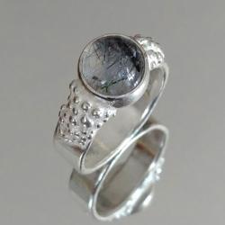 kwarc,srebrny,turmalinowy,szary,srebro,czerń,retro - Pierścionki - Biżuteria